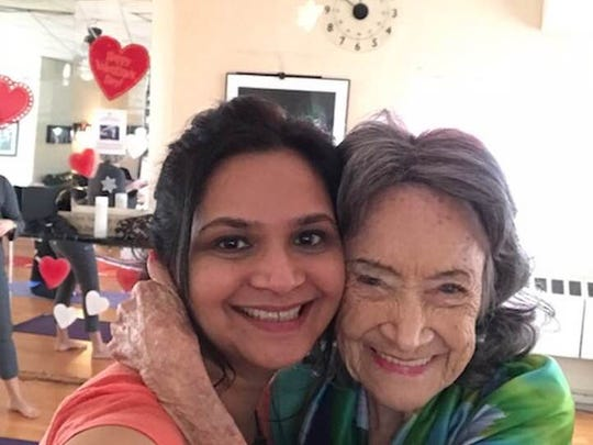 Lohud's Swapna Venugopal Ramaswamy and Tao Porchon-Lynch pose for a selfie after yoga class on Feb. 5, 2018.
