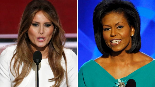 The speech of Melania Trump, left, has triggered media to draw comparisons to Michelle Obama's, right, 2008 speech and suggesting many similarities in both speeches.