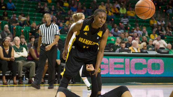 In the file photo from earlier this season, Grambling State  guard Chantiara Lewis (11) reacts to a call during the second half against the Baylor Bears. Grambling has won five straight games after beating Mississippi Valley State on Monday.