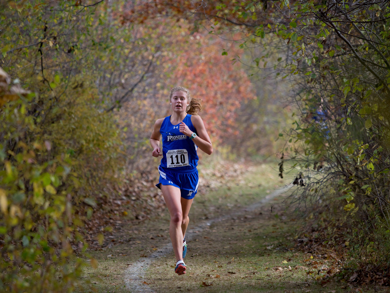 Cros-Lex's Calli Townsend runs during a regional cross county meet Friday, October 30, 2015 at Algonac High School.