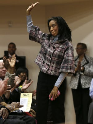 Judge Tracie Hunter was introduced to applause at an event in March.