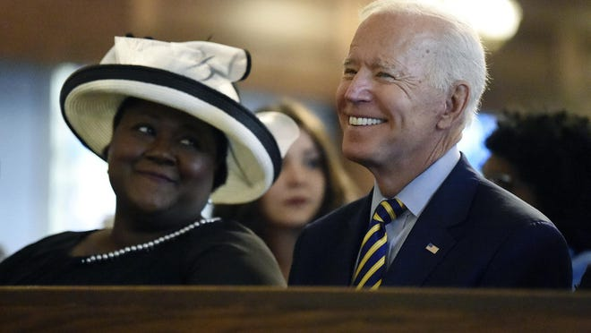 Democratic presidential candidate  Joe Biden attends a Sunday service at Morris Brown AME Church in Charleston, S.C., on July 7, 2019.