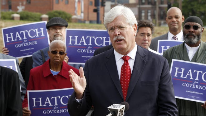 State Sen. Jack Hatch announces his candidacy for Iowa governor Monday morning in Des Moines.