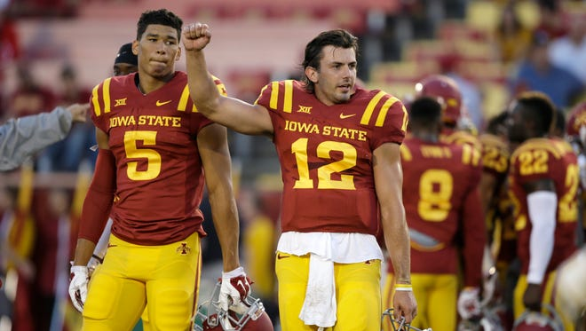 Iowa State quarterback Sam B. Richardson, right, and teammate Allen Lazard look on before an NCAA college football game against Baylor, Saturday, Sept. 27, 2014, in Ames, Iowa.