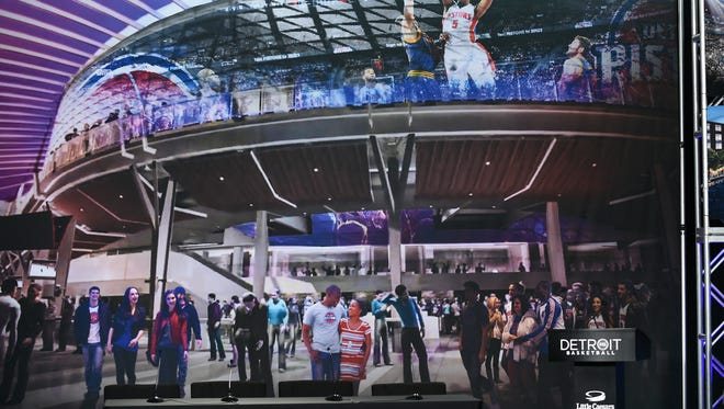 An artist's rendering shows the future Little Caesars Arena in Detroit.