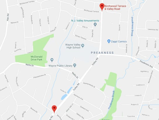 There were two incidents of pedestrians being struck on Valley Road in Wayne this week.