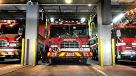 Fire and rescue vehicles are shown in the bays at the Arlington Fire District headquarters on Burnett Boulevard in Poughkeepsie.