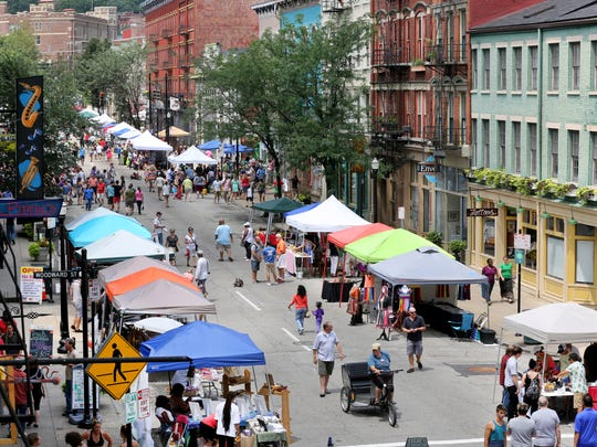 Many turned out for the Second Sunday on Main in Over-the-Rhine. The event continues to grow with art vendors, food, drink trucks and music. The theme was Pride.