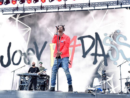 Recording artist Joey Bada$$ performs on stage during the 2016 Coachella Valley Music and Arts Festival on Weekend 1 in Indio, California.