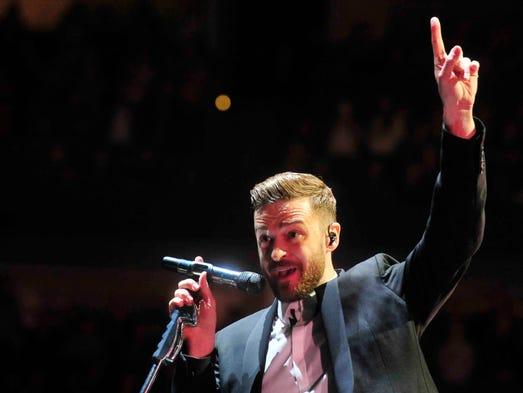 Justin Timberlake performs Friday night at Bridgestone