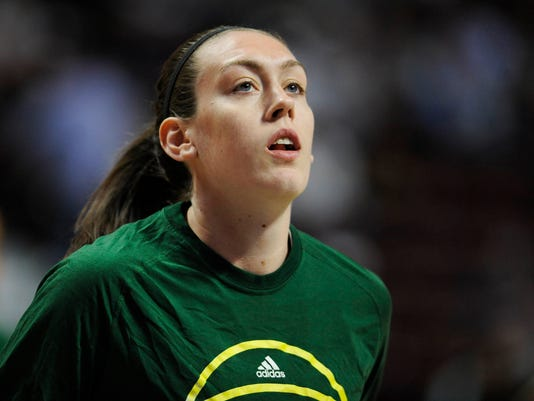 FILE - This June 10, 2016 file photo shows Seattle Storm's Breanna Stewart during a WNBA basketball game against the Connecticut Sun in Uncasville, Conn. Stewart says she was the victim of sexual abuse as a child. The Seattle Storm forward describes the abuse in an essay posted Monday, Oct. 30, 2017 on the Players' Tribune website. (AP Photo/Jessica Hill, file)
