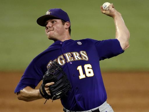 LSU pitcher Jared Poche' (16) earned his 34th career win on Friday night.