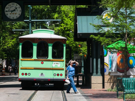 April 19, 2017 - A trolley bus travels north on South Main Street on Main Street Mall on Wednesday afternoon. The Memphis Area Transit Authority will pull its trolley buses from Main Street Mall starting May 8 to prepare the mall for the eventual return of electric trolleys.