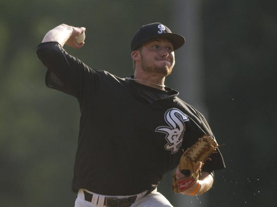 Plover Black Sox pitcher Alex Slowey throws during the seventh inning of the first game of the Class AAA regional championship game against the Marshfield Post 54 Blue Devils at Bukolt Park in Stevens Point, Friday, July 24.
