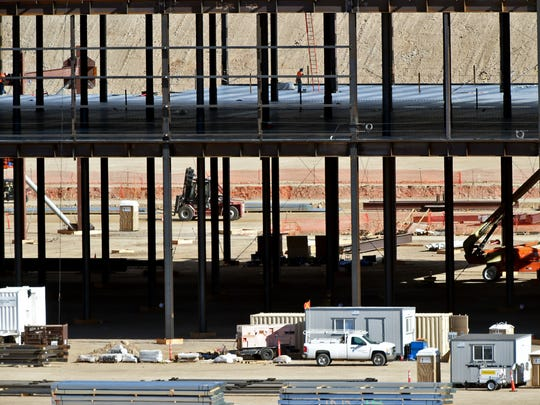 Andy Barron/RGJThe Tesla gigafactory under construction at the Tahoe-Reno Industrial Center will hold a Summer Job and Internship Expo Feb. 17. The Tesla gigafactory under construction at the Tahoe-Reno Industrial Center on Feb. 5, 2015.