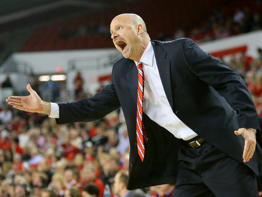 Mississippi coach Andy Kennedy yells defensive instructions to his players during the first half against Georgia in an NCAA college basketball game Tuesday, Jan. 20, 2015, in Athens, Ga. (AP Photo/Atlanta Journal Constitution, Curtis Compton)
