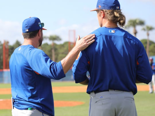 The Mets workout this morning. Manager, Mickey Callaway with pitcher Noah Syndergaard as they spoke on the practice field for several minutes.