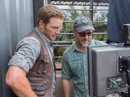 Actor Chris Pratt and director Colin Trevorrow, right,