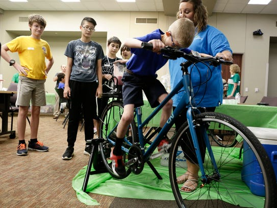 Conner Boullion of Alice Boucher Elementary rides a