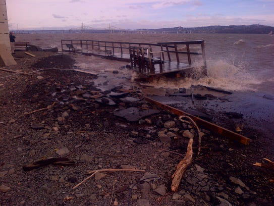 The wooden boardwalk near the end of the Piermont Pier