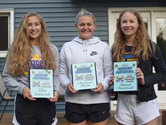 Oconto High School Softball Team 2018 Team Award winners were Ellen Sohrweide (Most Valuable Player), Mackenzie Honish (Most Valuable Pitcher) and Hannah Wusterbarth (Most Improved Player). All three were also first team All-District Award winners, and Sohrweide and Honish were second team All-State winners.