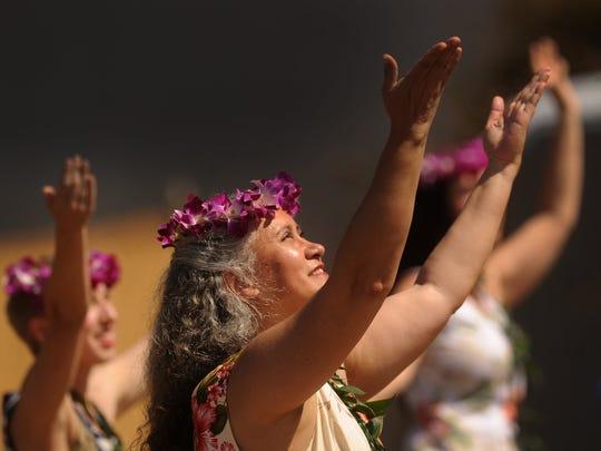 Sylvia Edgar of Ventura performs a dance at an earlier Aloha Beach Festival in Ventura.
