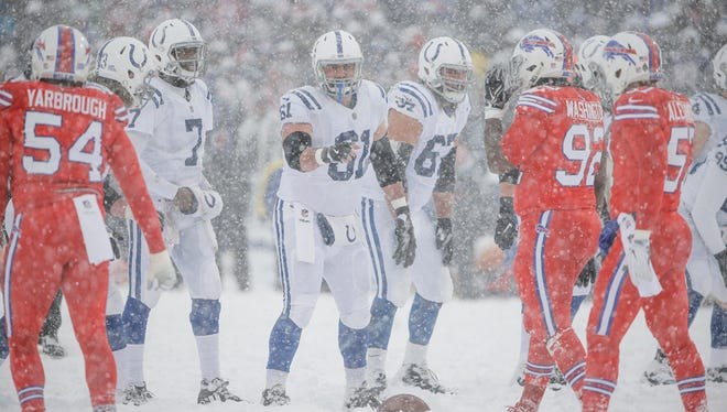 Indianapolis Colts center Anthony Fabiano (61) prepares to snap the football to quarterback Jacoby Brissett (7) against the Buffalo Bills in the second quarter at New Era Field in Orchard Park, N.Y., on Sunday, Dec. 10, 2017.