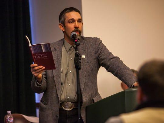 John Pratt, a Southern Utah rancher, speaks during the Western Rangelands Property Rights Workshop at the Heritage Center in Cedar City, Saturday, Jan. 23, 2016.