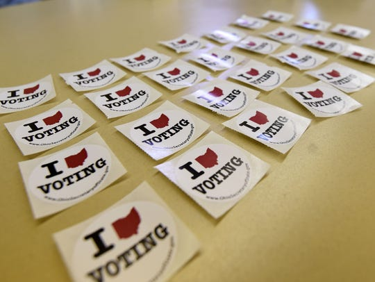 Everyone gets a sticker after voting.