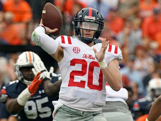 Mississippi quarterback Shea Patterson throws a pass against Auburn on Oct. 7, 2017.