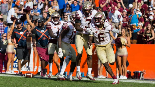 Florida State's defense scored two defensive touchdowns during Saturday's 38-22 victory over Florida at Ben Hill Griffin Stadium.