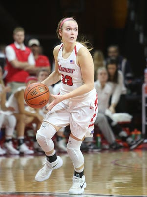 Marist College's Rebekah Hand looks to make a pass against Fairfield on Jan. 13.