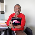 """Levar Burton has brought the old PBS """"Reading Rainbow"""" show back to life as an iPad app. He's photographed in his Burbank offices."""