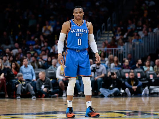 Oklahoma City Thunder guard Russell Westbrook (0) in the third quarter against the Denver Nuggets at the Pepsi Center.
