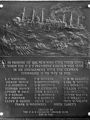 Memorial Plaque exhibited in the main lobby of the Navy Building, on Constitution Avenue in Washington, D.C. (Photo taken in late 1920s or early 1930s; Library of Congress)