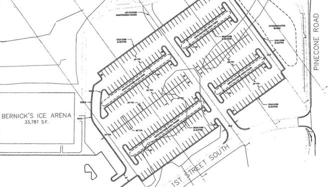 The proposed parking lot near Bernick's Arena would have 283 stalls. Sartell City Council approved a conditional use permit for the lot on Jan. 25, 2016.