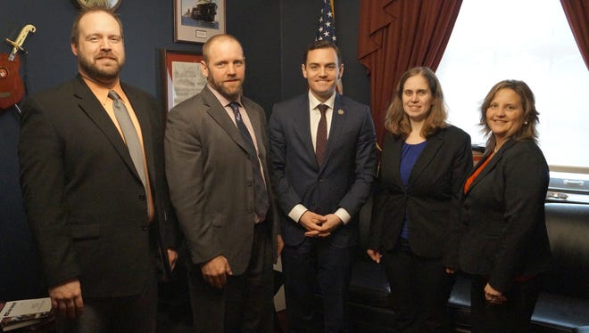 Nearly 30 Wisconsin Farm Bureau members and staff were in Washington, D.C during national agriculture week to advocate for farmers. Pictured are Brian Preder, Adam Kuczer, Rep. Mike Gallagher, Heidi Pettis and Rosie Lisowe.