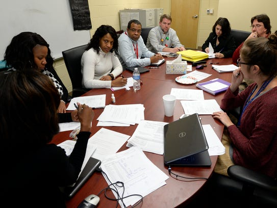 Chadwell Elementary facility members talk on Thursday,