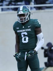 Michigan State safety David Dowell lines up during