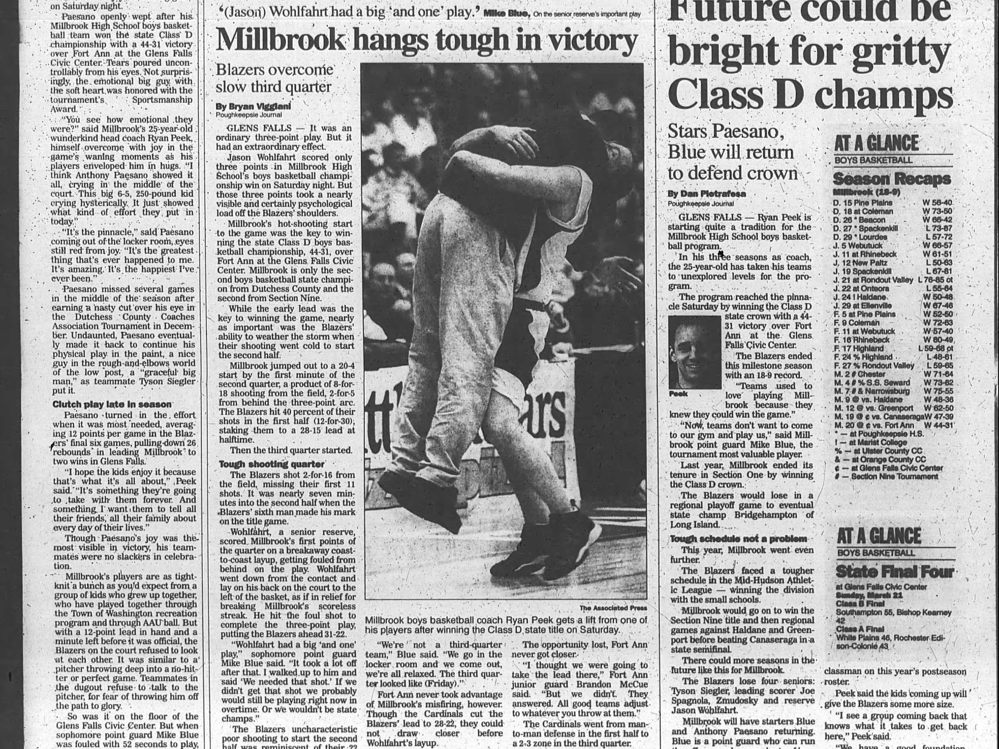 Journal clip highlighting Millbrook's New York State Class D championship in 1999.