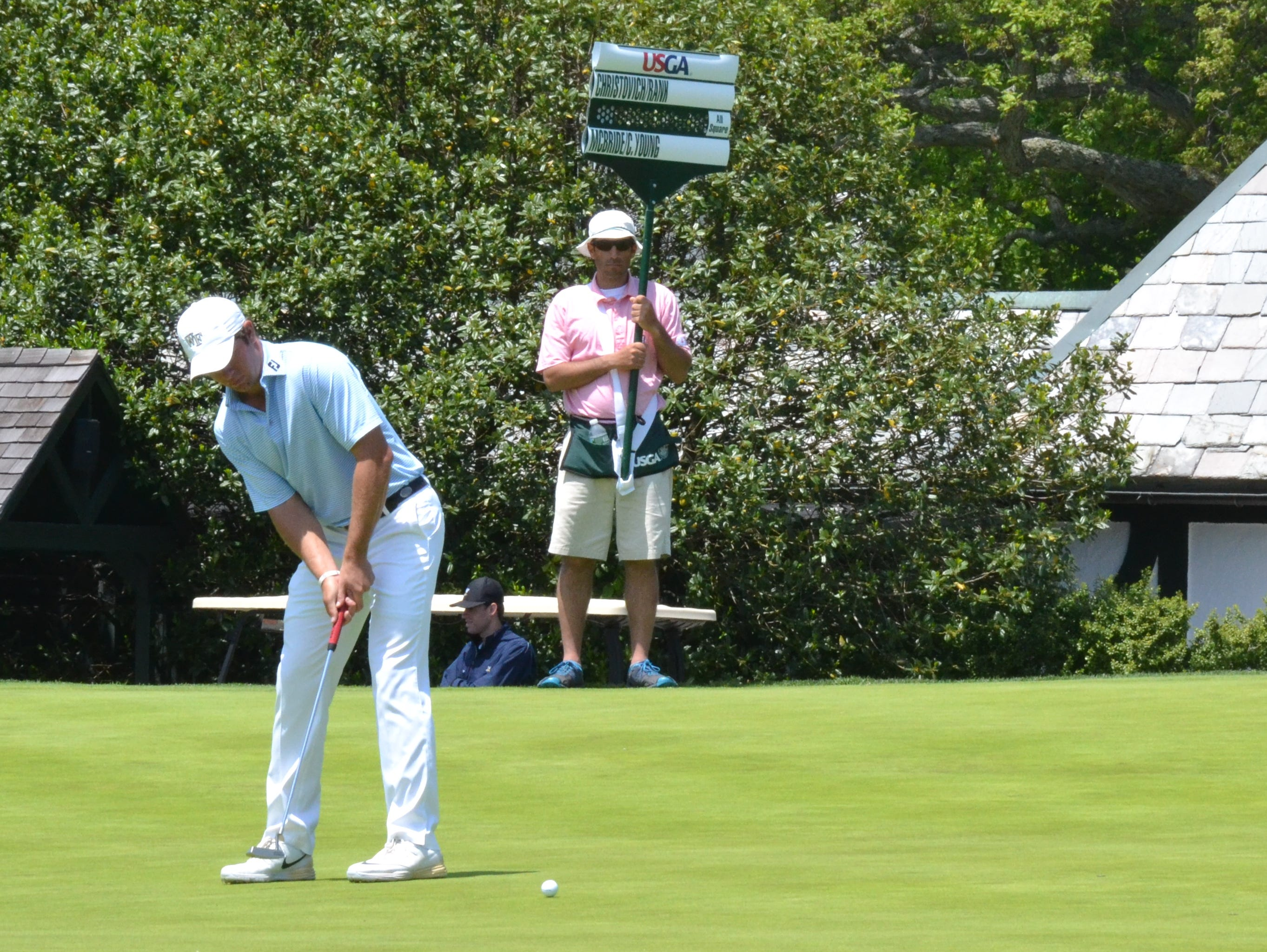 Cameron Young drove the 10th green on Winged Foot East, hitting a 3-wood 299 yards, then rolled in a six-footer for eagle to win the hole.