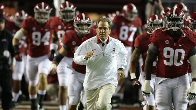 Alabama Coach Nick Saban , currently the highest-paid college football coach in USA TODAY's annual salary report