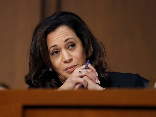 Sen. Kamala Harris, D-Calif., reacts during a Senate