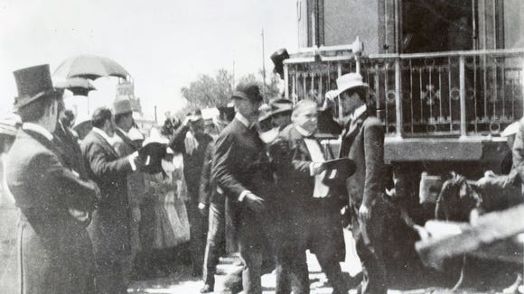 "May 6, 1901, El Paso, TX. President William McKinley alighting from his private railway car, ""Olympia"" after arrival for a one day visit, while in route to Phoenix, AZ and the West Coast."