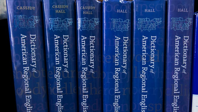The six volumes of the Dictionary of American Regional English (DARE) are shown at their offices at UW-Madison.
