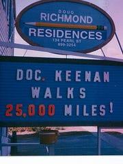 A sign salutes Dr. Edward A. Keeenan Jr. on his walk.