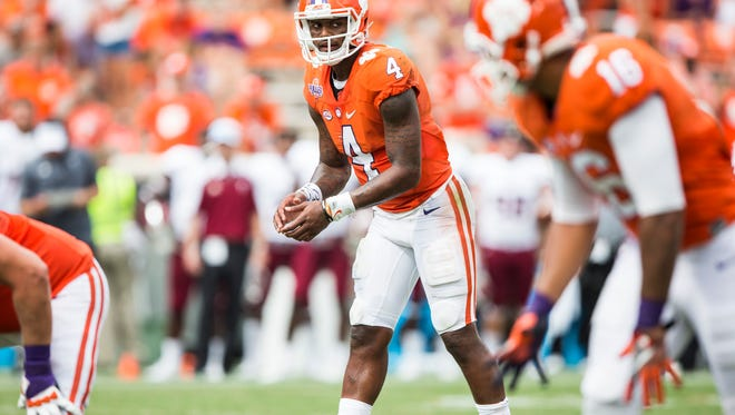 Clemson quarterback Deshaun Watson (4) looks over at his teammates before the start of a play at the Clemson game against Troy on Saturday, September 10, 2016 in Clemson.