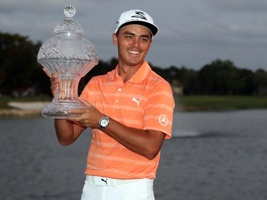 Rickie Fowler with Honda Classic trophy