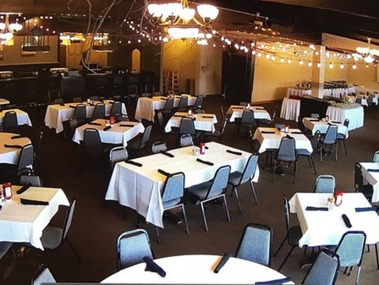 An overview of the banquet hall inside RiverEdge building.