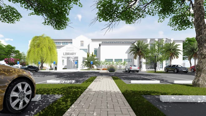 The library in downtown Bonita Springs is expected to have 100 parking spaces on site, according to early plans.